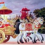 Рукмини и Кришна на колеснице