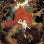 Баларама на поверженном демоне Праламбасуре