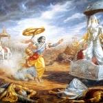 Кришна хочет бросить чакру в деда Бхишму