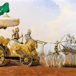 Кришна рассказывает Арджуне Бхагавад-Гиту