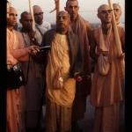Prabhupada took his walk on the roof with GBC members and sannyasis