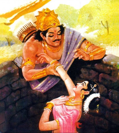 Царь Яяти спасает Деваяни из колодца