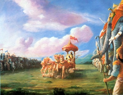 Aрджуна сказал: О непогрешимый, прошу Тебя, выведи вперед мою колесницу и поставь ее между двумя армиями