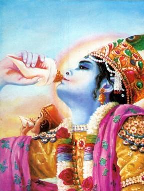Господь Кришна затрубил в Свою раковину Панчаджанью, а Aрджуна - в свою, Девадатту